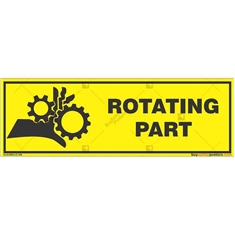 Rotating-Part-Warning-Sign in Rectangle