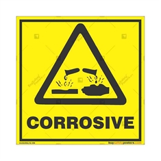 Corrosive-Area-Warning-Sign in Square