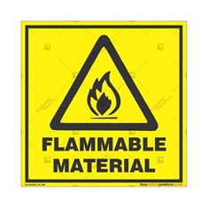 Warning-Flammable-Material-Sign in Square