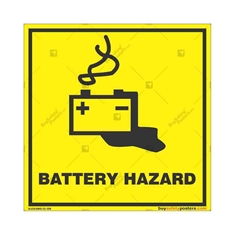 Battery-Hazard-Warning-Sign in Square